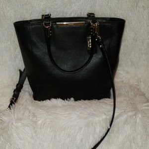 Coach Black Leather Crossbody Bucket Bag